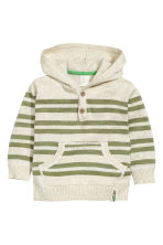 Fine-knit hooded jumper - Light beige/Striped - Kids | H&M CN 1